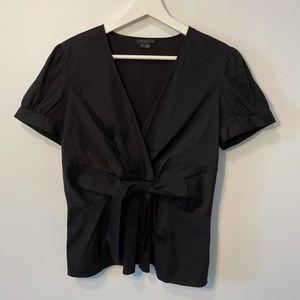 Theory Black Peplum Front Tie Blouse